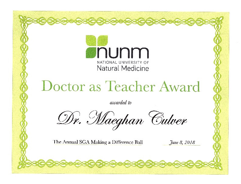 """Congratulations to Dr. Culver for winning the """"Doctor as Teacher Award""""!"""